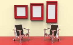 Two chairs amid the red vector illustration