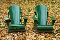 Two Chairs in Autumn Royalty Free Stock Photography