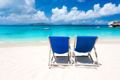 Two chairs beach royalty free stock photo
