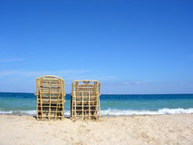 Two chairs. beach. Royalty Free Stock Photography