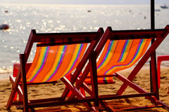 Two chairs on a beach Royalty Free Stock Photography