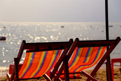 Two chairs on a beach Stock Photo