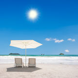 Two Chairs at the Beach. Two chairs and umbrella at the beach. Manuel Antonio, Costa Rica Royalty Free Stock Images