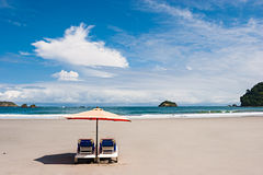 Two Chairs at the Beach. Two chairs and umbrella at the beach. Manuel Antonio, Costa Rica stock image