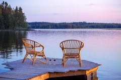 Two Chairs on dock Royalty Free Stock Photo