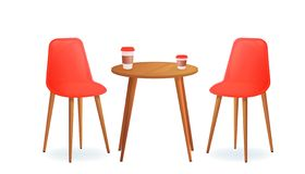 Two chairs with and drink cup on wood table. Cafe for meet and talk. Modern furniture for house or shop. stock photos
