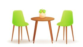 Two chairs with and drink cup on wood table. Cafe for meet and talk. Modern furniture for interior house or shop. royalty free stock photo