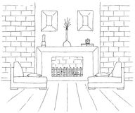 Two chairs in front of the fireplace. On the fireplace there is a vase and other decor items. Vector illustration in sketch style. Two chairs in front of the Stock Photo