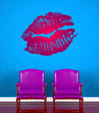 Two chairs  with kiss Stock Photos
