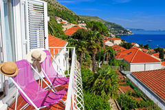Two chairs in luxury balcony of Dubrovnik, Croatia Stock Photography