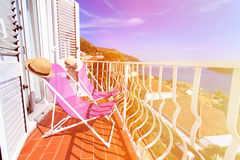 Two chairs in luxury balcony of Dubrovnik, Croatia Stock Images