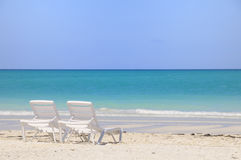 Two Chairs On Tropical Beach Stock Photos