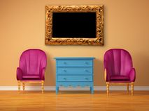 Two chairs opposite wooden bedside with frame Royalty Free Stock Image