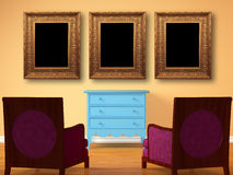 Two chairs opposite wooden bedside with frames Stock Image