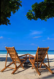 Two chairs on sand beach in Boracay, Philippines Royalty Free Stock Photos