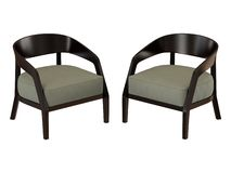 Two chairs with a soft seat on a white background stock illustration