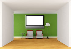 Two chairs, table and lamp with flat TV in gallery Royalty Free Stock Photo