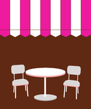 Two chairs and table in restaurant.  illustr Stock Photos