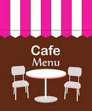 Two chairs and table in restaurant. vector illustration Stock Photos