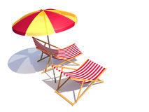 Two chairs and umbrella Royalty Free Stock Photos