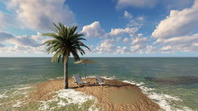 Two chairs under an umbrella at the beach by cloudy day Stock Image