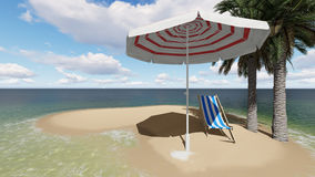 Two chairs under an umbrella at the beach by cloudy day Royalty Free Stock Photo