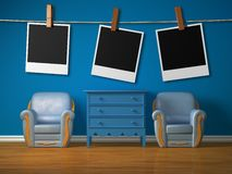 Two chairs with wooden bedside and frames Stock Photos