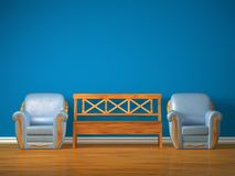 Two chairs with wooden bench Royalty Free Stock Images
