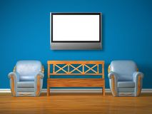 Two chairs with wooden bench and lcd tv Royalty Free Stock Images