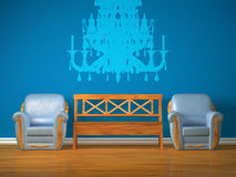 Two chairs with wooden bench and silhouette Royalty Free Stock Photo