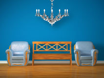 Two chairs with wooden bench and silver chandelier Royalty Free Stock Image