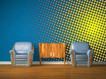 Two chairs with wooden console in blue interior Royalty Free Stock Images