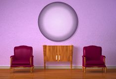 Two chairs with wooden console and circle mirror Royalty Free Stock Photography