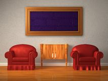 Two chairs with wooden console and frame Royalty Free Stock Photos