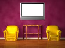 Two chairs with wooden console and lcd tv Royalty Free Stock Photos