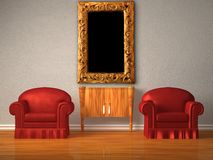 Two chairs with wooden console and modern frame Stock Photography