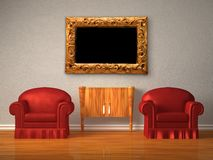 Two chairs with wooden console and modern frame Stock Photo