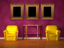 Two chairs with wooden console and picture frames. In purple interior Royalty Free Stock Photography