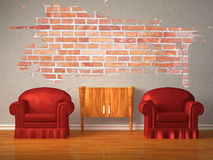 Two chairs with wooden console and splash hole Stock Images