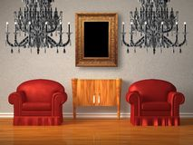 Two chairs with wooden console and two chandeliers Royalty Free Stock Photography