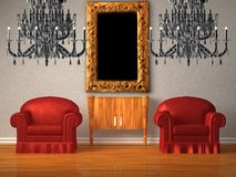 Two chairs with wooden console and two chandeliers Stock Photography