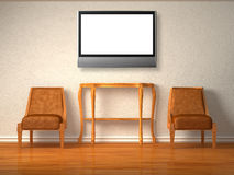 Two  chairs with wooden table and lcd tv Stock Image