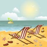 Two chaise longue on the beach. Vector illustration Stock Photo