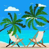 Two chaise lounges on beautiful seascape: palm trees, calm ocean, sand coastline, seagulls, clouds stock illustration