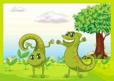 Two chameleons in nature vector illustration
