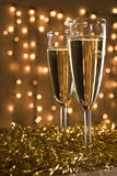Two champagne flutes. Royalty Free Stock Photo