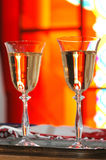 TWO CHAMPAGNE GLASS. On a table Royalty Free Stock Photography