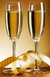 Two champagne glass. Two glass with champagne and celebratory ribbon Royalty Free Stock Image