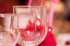Two champagne glass on blurred background wedding table Royalty Free Stock Images