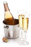 Two champagne glass with bottle. Royalty Free Stock Photography